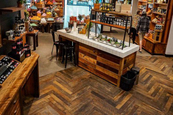 Reclaimed Antique Barnwood Herringbone Flooring 1