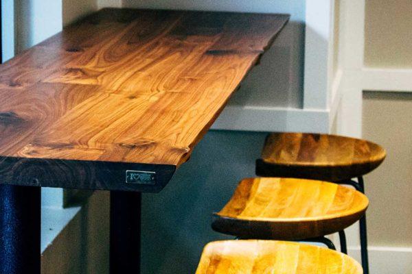 Viridian-Reclaimed-Wood-Live-Edge-Walnut-Restaurant- Tables
